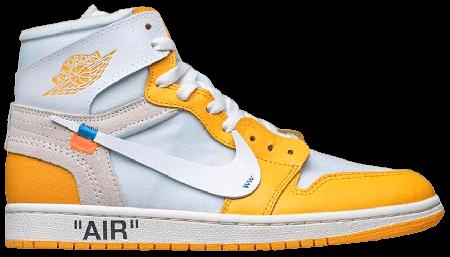 UA Air Jordan 1 Retro High Off-White Canary Yellow