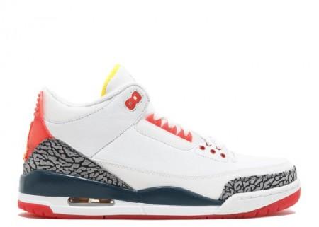 UA Air Jordan 3 Retro White Lsr Cramson Nightshed Isr Or