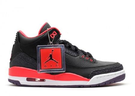 UA Air Jordan 3 Retro Black Bright Crimson Cnyn Purple