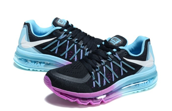sneakers for cheap a2de3 bc3a5 Nike Air Max 2015 Running Shoes Black Sky Blue White Purple