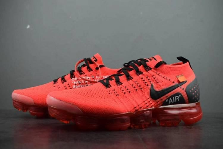 on sale 2914c 6a453 UA Off-White X Air Vapormax Flyknit 2.0 2018 Red Black Logo On Sale