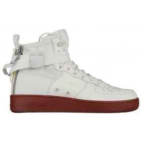 UA Nike SF Air Force 1 Mid Ivory Dark Red for Sale Online