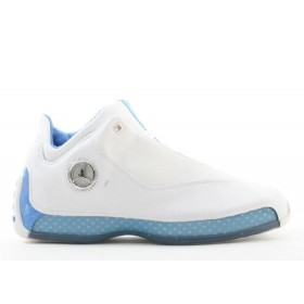 UA Air Jordan 18 Low White Chrome University Blue Metallic Silver