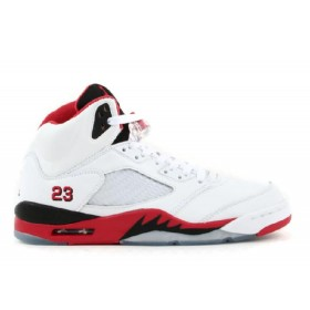 UA Air Jordan 5 Retro White Fire Red Black