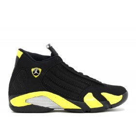 UA Air Jordan 14 Retro Thunder Black Vibrant Yellow White