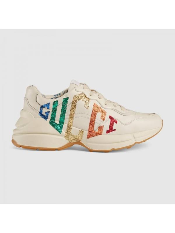 UA Rhyton glitter Gucci leather sneaker Online