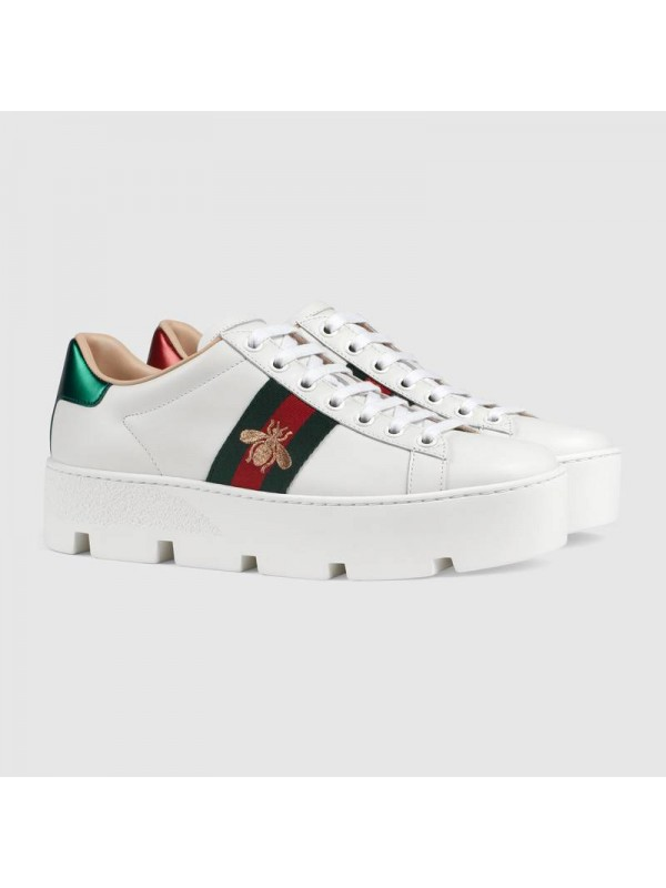 UA GUCCI Women's Ace embroidered platform sneaker