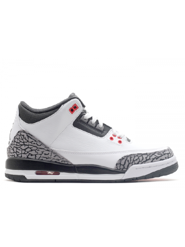 UA Air Jordan 3 Retro White Black Cmnt Grey Infrared 23