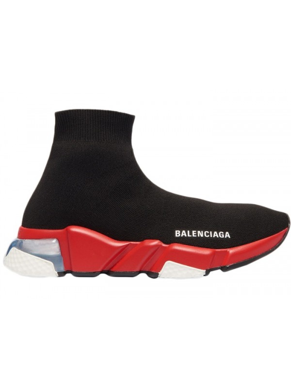 UA Balenciaga Speed Clear Sole Black Red