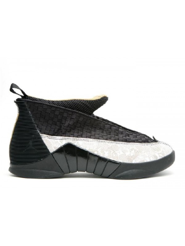 UA Air Jordan 15 Retrp LS Laser Black Metallic Gold White